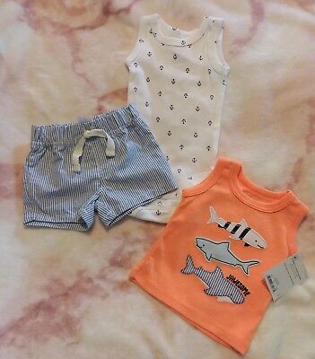 Carter/'s Newborn Boys SS Cutie Sailboat 3pc Shorts Set Outfit Baby Size NB NWT