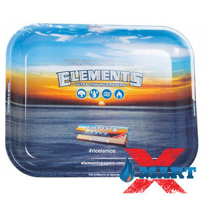 Elements Blue Cigarette Tobacco Metal LARGE Rolling Tray 14x11