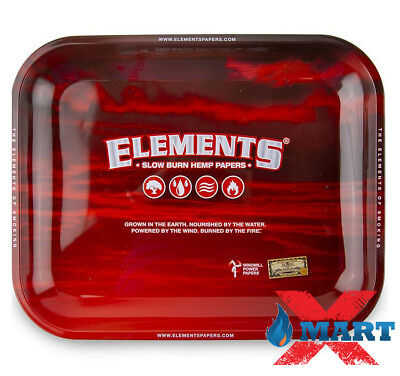Elements RED Cigarette Tobacco Metal LARGE Rolling Tray 14x11