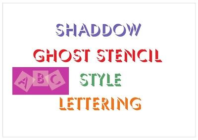 Shadow Ghost Letter Stencil Tiles or Sheet 3 Sizes 350 Micron Mylar FONT005