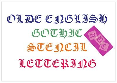 Olde English Letter Stencil Tiles or Sheet 3 Sizes 350 Micron Mylar FONT009