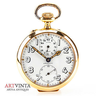 Angelus Alarm Patent Taschenuhr Wecker GG 750 Pocket Watch Gold 18K Art Deco
