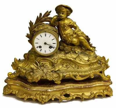 19Th C. French Gilt Figural Antique Mantle Clock on Gilt-Wood Stand! Vincenti