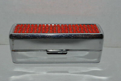 Lipstick Case W/Mirror~Hinged Stainless Steel~Orange Reflector Top~Black LIning