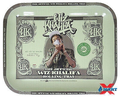 Raw WIZ KHALIFA Cigarette Rolling Papers Metal LARGE Rolling Tray 14 x 11