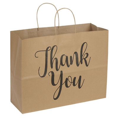 "100 Large Kraft Thank You Paper Shopping Bags 16"" x 6"" x 12"" Retail Gift"