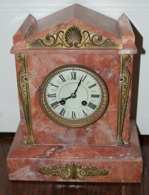 19th Century 1800's French Pink Marble Shelf Mantle AD MOUGIN Clock REAL Marble