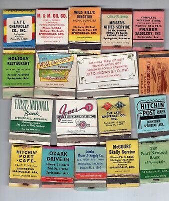 Vintage Lot of 18 Matchbooks Springdale AR  Jones Truck Line, Jeff Brown, AQ