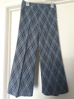 Kids Vintage Retro Flare Pants Bell Bottoms Childrens Sz 7 Or 8 Dark Blue Plaid
