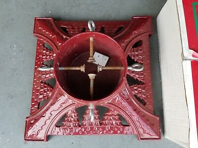 Red Cast Iron Christmas Tree Stand w/ Mounting Hardware & Original Box