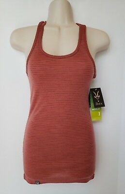 c21ff48b2d1e0 Ibex Woolies 1 Racerback Outdoor Clothing Merino Wool Stripe Pink Tan X  Small