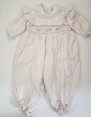 Vtg Baby Togs Smocked Rose Bud Print Bubble Romper Size 6-9 Months Long Sleeves