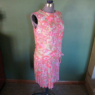 Vintage Carol Brent Mod Hot Pink Flower 1960s Drop Low Waist L Montgomery Ward