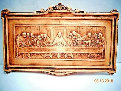 The Last Supper Chalkware Wall Plaque Hanging wall art decor Vintage
