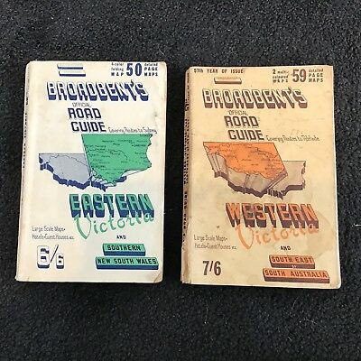 57 & 58 Broadbent's Official Road Guide Eastern & Western Victoria- Maps-Books