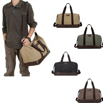 NEW Men's Vintage Canvas Leather Shoulder Travel Gym Weekend Bags Luggage Duffle