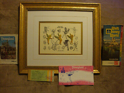 Disney Tinkerbell Pin Set Peter Pan Sketches & A-E Ticketbook, 1968 & 1972 Guide