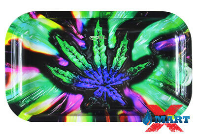 Psychedelic Hemp Leaf Cigarette Rolling Papers Metal MEDIUM Rolling Tray 7 x 11