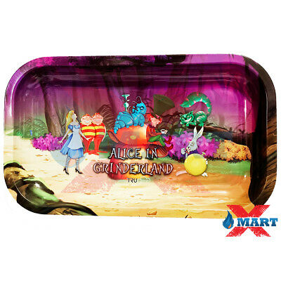 Alice in Grinderland Cigarette Rolling Papers Metal MEDIUM Rolling Tray 7 x 11