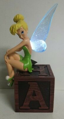 Disney Parks Tinker Bell on Block Box Light Up Wings Figurine - Free Shipping!