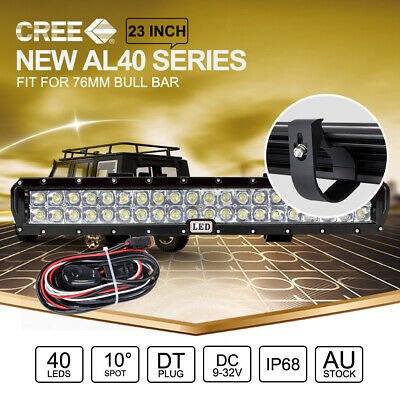 23 inch CREE LED Light Bar SPOT For 49mm ARB Front Bull Bar Mount Black & Wiring