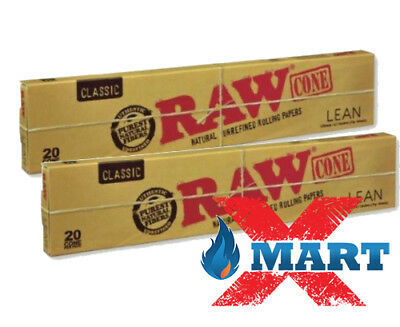 RAW Classic LEAN Pre Rolled Cones - 2 PACKS - Roll Papers 20 Cones Per Pack