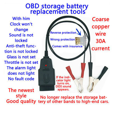Car Computer ECU Memory Saver Battery OBD2 Replace Tools Extended Cable Clip
