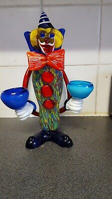 Multi Coloured Solid Glass Clown  Holds T Light Candels Item Is New
