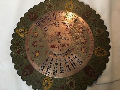 100 Year Calendar Brass/Metal Dial Month Vintage Collector Gift Unique Rare