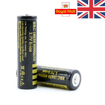 UK Protected BRC 18650 Rechargeable Li-ion Battery 4000mAh 3.7V Lithium Cells
