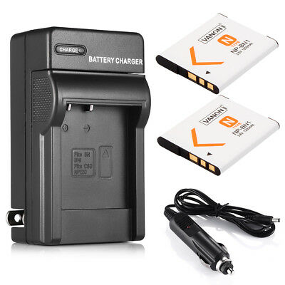 2x NP-BN1 N Type Lithium-Ion Battery + Charger for Sony Cyber-shot NPBN1 Camera