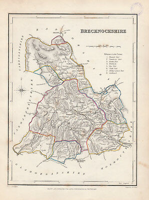Wales - c1845 map of Brecknockshire drawn by Richard Creighton