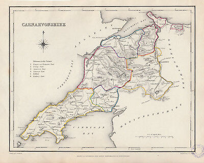 Wales - c1845 map of Carnarvonshire drawn by Richard Creighton