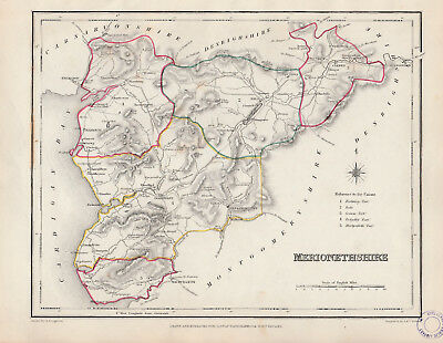 Wales - c1845 map of Merionethshire drawn by Richard Creighton