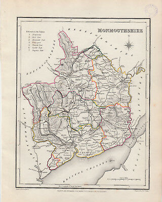Wales - c1845 map of Monmouthshire drawn by Richard Creighton