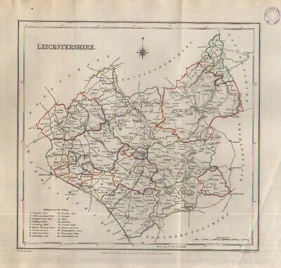 English county map c1845 map of Leicestershire drawn by Richard Creighton