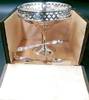 Nice Antque Solid silver comport tazza with tongs set boxed 1898