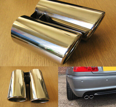 Chrome Steel Twin Exhaust Tip 60mm Double Tail Pipe Sports Oval Trim BMW Style