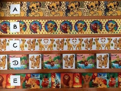 """The Lion King Sold by 2M Grosgrain Ribbon All designs 1"""" see listing for details"""