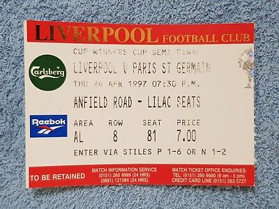 1997 - LIVERPOOL v PARIS ST GERMAIN TICKET - CUP WINNERS CUP SEMI FINAL - 96/97