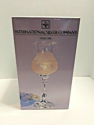 International Silver Company Victorian Lace Pattern Electrical Hurricane Lamp
