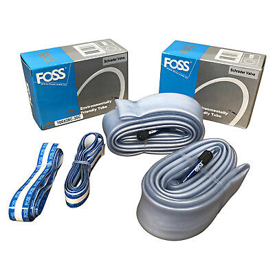 2x Foss Explosion-Proof Inner Bicycle Bike Tubes 700 x 28-35C, Schrader Valve
