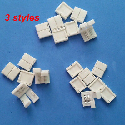 20-100 Solderless Clip-on Coupler Connector 2/4Pin RGB For 3528 5050 LED Strip