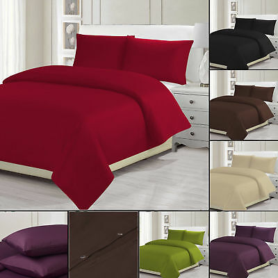 Plain Dyed Duvet Quilt Cover Pillowcases Bedding Sets Single Double King New Uk