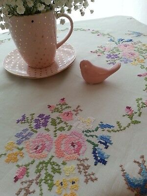 Vintage LINEN Tablecloth~Gorgeous FLORAL Embroidery BIRDS~Cottage FARMHOUSE Chic