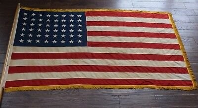 WWII Era 48 Star American Flag / Gold Knotted Fringe / Parade Banner Sewn & Pole