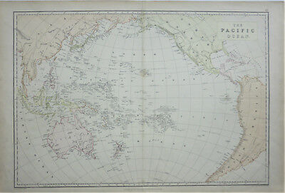 Large scale antique map 'The Pacific Ocean' by Edward Weller c1864