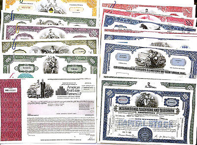 50 pc Collection of Different Rare Stock Certificates NO LONGER PRINTED!