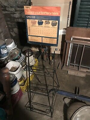 Mobil Gas Station Battery Display Rack With Sign