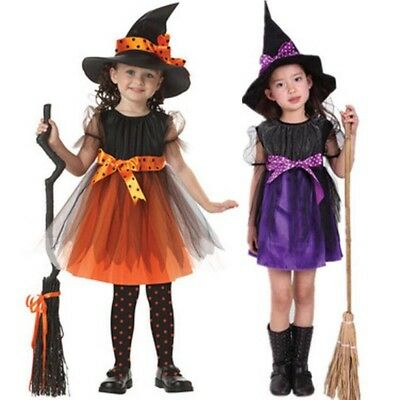 Halloween Kids Girl Witch Costume Cosplay Party Fancy Dress + Hat Outfit Clothes